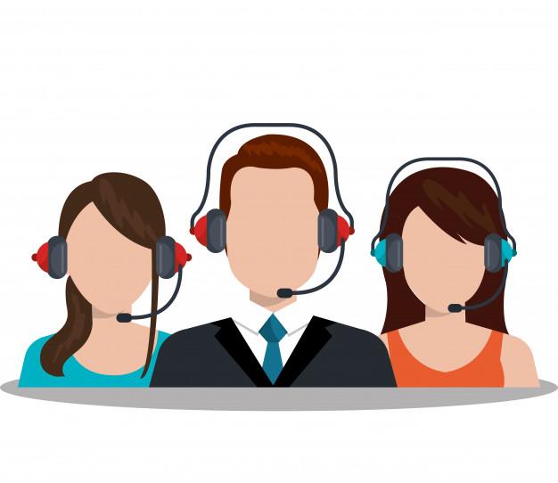 Desenho de três pessoas utilizando a plataforma Voip grátis