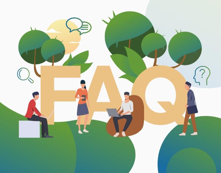"""desenho de pessoas mexendo em computadores e celulares e o texto """"FAQ"""" ao fundo"""