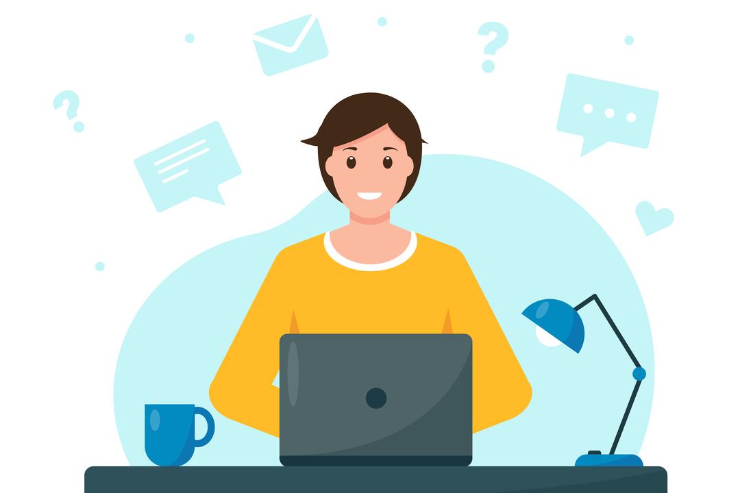 Desenho gráfico de um homem feliz, sentado trabalhando com seu notebook e diversos ícones de mensagens em sua volta, representando a comunicação eficiente.