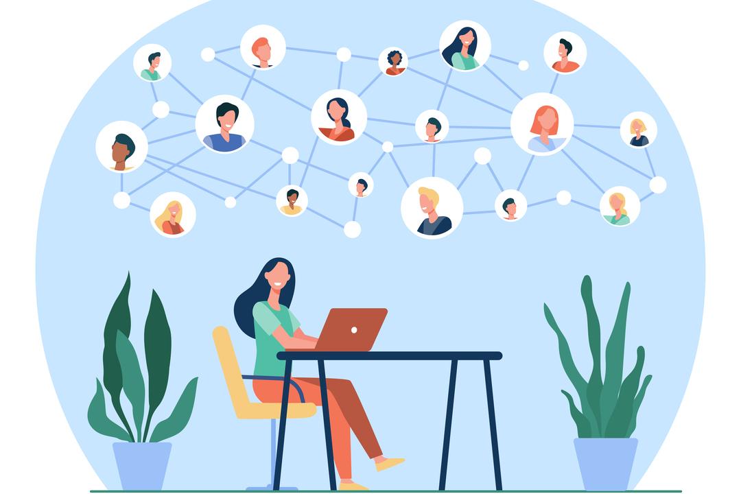 Comunicação interna: imagem vetorizada mostra mulher sentada na frente do computador e rede de conexões com outras pessoas ilustradas em cima