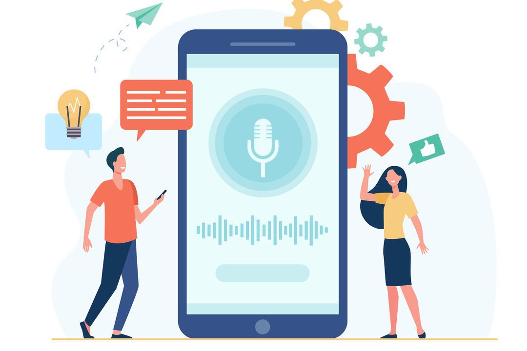 Correio de voz: imagem em vetor mostra celular grande no meio e ilustração de um homem e de uma mulher ao redor