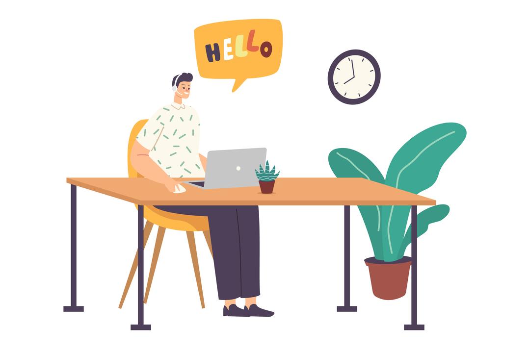 Imagem em vetor mostra homem sentado em frente ao computador, ilustrando o ato de gerenciar chamadas