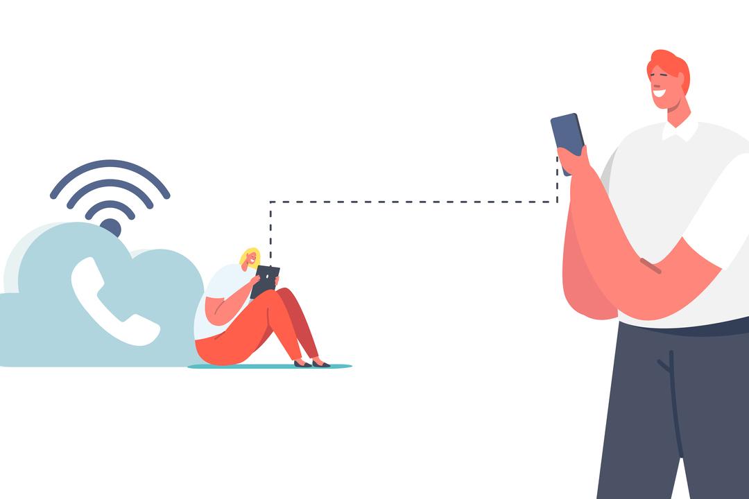 sip trunk: a imagem mostra uma pessoa a direita em pé e outra a esquerda sentada, ambas estão conectadas via wi-fi.