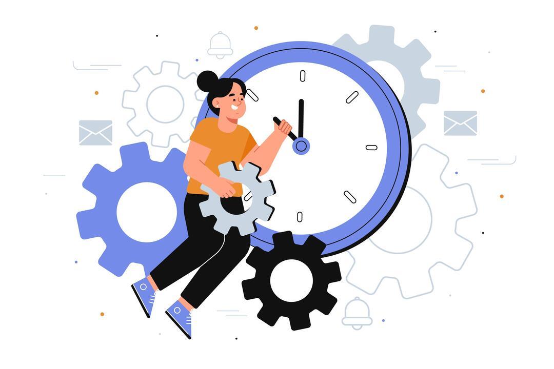Tempo de resposta ao cliente: na ilustração tem uma mulher segurando o ponteiro de um relógio e em volta do relógio e da mulher há símbolos de engrenagens, sinos e símbolos de carta.